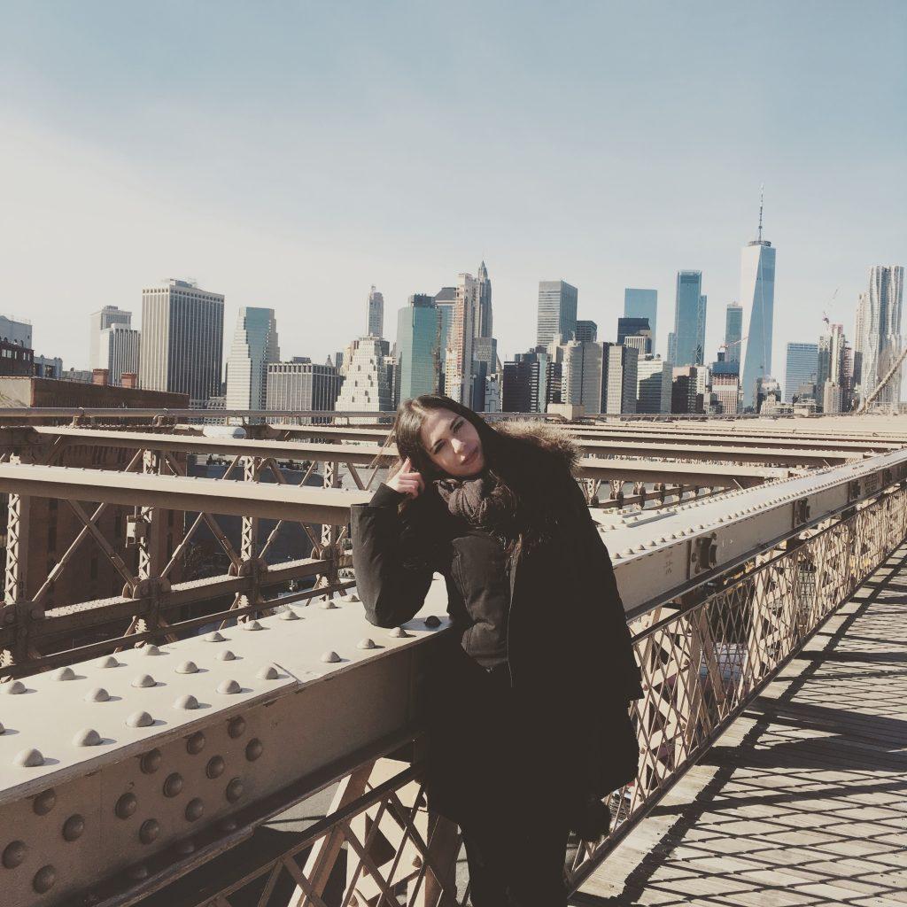 Skyline de Manhattan depuis le pont de Brooklyn au soleil