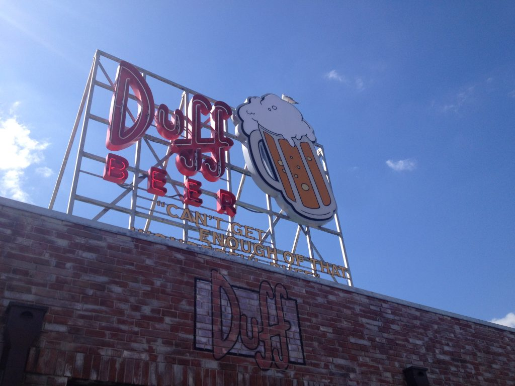 panneau duff beer aux parcs universal studio à orlando en floride