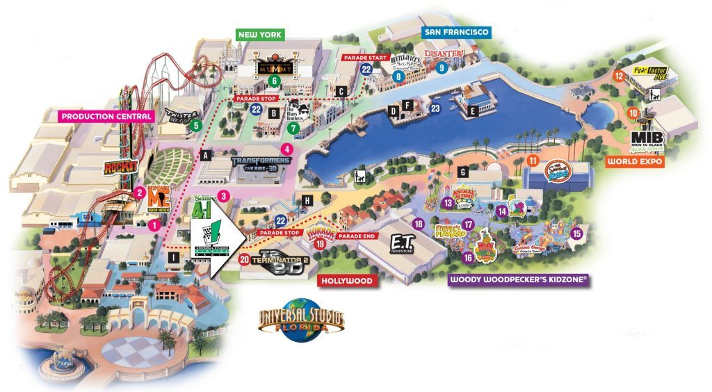 2017 Collectibles Universal Studios-Orlando-Park Map-Jimmy ...
